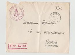Enveloppe Poste Navale 25.12.1957 - Etat Major Forces Maritimes D'Extrême Orient - Par Avion Adréssée à Mme RAIMU - Poststempel (Briefe)