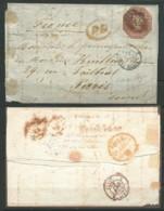 GRANDE-BRETAGNE: Let., N°YT 6/lettre Pr Paris, Découpé Suivant Contour Filet (intact) Entrée Calais 22-4-54, RR, B - 1840-1901 (Victoria)