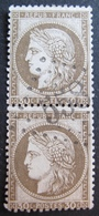 R1680/44 - CERES (PAIRE) N°56c Fond Ligné - GC 558 : BOURDEAUX (Drome) INDICE 8 - 1871-1875 Ceres