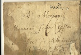3. GANNAT ( Allier ) , 1823 .  Lettre Bien Défraîchie , Mais ...  MARQUE SUPERBE . - Marcophilie (Lettres)