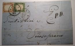 """REGNO D' ITALIA-SARDEGNA """"MILANO DICEMBRE 1863"""" Lettera RL 15c ! > Vicosoprano (GR) SVIZZERA (SCHWEIZ Grenzrayon Brief - Marcophilia"""