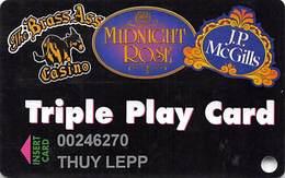 Midnight Rose/JP McGills/Brass Ass Casinos CO - Triple Play Card - Cpi 2031978 Over Mag Stripe - Casino Cards
