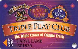 Midnight Rose/JP McGills/Brass Ass Casinos CO - Triple Play Card - Cpi 2051262 Over Mag Stripe - Casino Cards