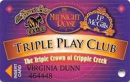 Midnight Rose/JP McGills/Brass Ass Casinos CO - Triple Play Card - Cpi 2061617 Over Mag Stripe - Casino Cards