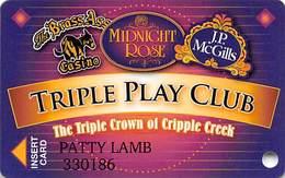 Midnight Rose/JP McGills/Brass Ass Casinos CO - Triple Play Card - Cpi 2065337 Over Mag Stripe - Casino Cards