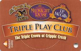 Midnight Rose/JP McGills/Brass Ass Casinos CO - Triple Play Card - Cpi 2046198 Over Mag Stripe - Casino Cards