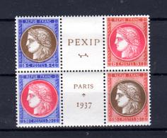 1937   France, Exposition Internationale De Paris, 348 / 351** (trace Dans La Colle) , Cote 400 € - 1932-39 Peace