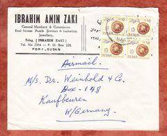 Brief, MeF Geflochtene Scheibe Im 4er-Block, Port Sudan Nach Kaufbeuren 1965 (58417) - Sudan (1954-...)