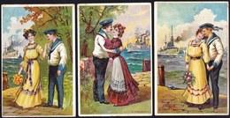 3 X DEUTSCHE ALTE KARTE ** DEUTSCHE MARINE VERABSCHIEDET SICH VON SEINER FRAU **  Schlachtschiff - CRUISER - Patriotiques
