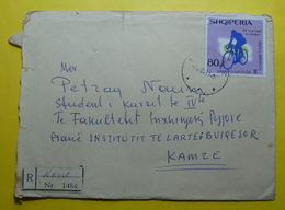 1971 ALBANIA Registered Cover Sent From Korca To Kamza , Stamp:2nd NATIONAL SPARTACIAD CYCLISM 80q, Seal: Korca & Tirana - Albania