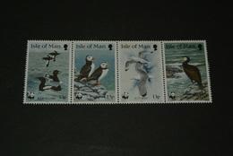 K15176 - Set In Strip MNH BIRDS ISLE OF MAN WWF 1989 Sea Birds Mi 408-411 - W.W.F.