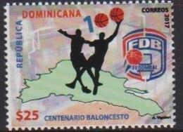 DOMINICAN REPUBLIC, 2017, MNH, SPORTS, BASKETBALL, CENTENARY OF DOMINICAN BASKETBALL FEDERATION,1v - Basket-ball