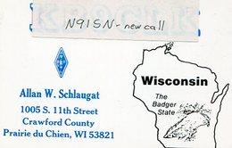 QSL CARD RADIOAFICIONADOS/RADIO HAM N91SN WISCONSIN EEUU YEAR 1993 - LILHU - Radio