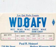 QSL CARD RADIOAFICIONADOS/RADIO HAM WDOAFV MINNESOTA EEUU YEAR 1983 - LILHU - Radio