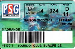 FRANCE - Paris Saint Germain, Season Ticket 2000-2001, Used - Sport