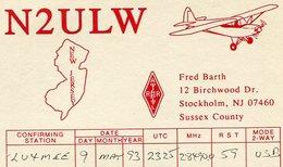 QSL CARD RADIOAFICIONADOS/RADIO HAM N2ULW STOCKHOLM YEAR 1993 - LILHU - Radio-amateur