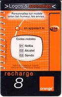 REUNION - Logos & Sonneries, Orange Recharge Card 8 Euro, 01/03, Used - Reunion