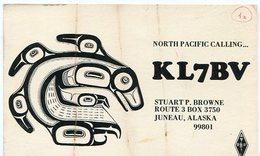 QSL CARD RADIOAFICIONADOS/RADIO HAM KL7BV JUNEAU ALASKA YEAR 1979 - LILHU - Radio-amateur