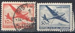 1957/58 - URUGUAY - POSTA AEREA / AIRMAIL - QUADRIMOTORE / FOUR MOTORED PLAIN. USATO / USED - Uruguay