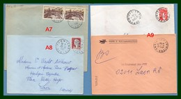 4 Lettres Pommiers ( Aisne 02 ) Type A7 + A8 + A9 Entre 1958 Et 1980 - Poststempel (Briefe)