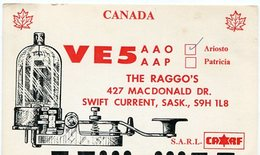 QSL CARD RADIOAFICIONADOS/RADIO HAM VE5 CURRENT CANADA YEAR 1978 - LILHU - Radio-amateur