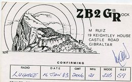 QSL CARD RADIOAFICIONADOS/RADIO HAM ZB2GR CASTLE ROAD GIBRALTAR YEAR 1983 - LILHU - Radio-amateur