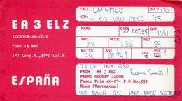 QSL CARD RADIOAFICIONADOS/RADIO HAM EA3ELIZ ESPAÑA YEAR 1985 - LILHU - Radio-amateur