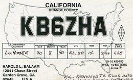 QSL CARD RADIOAFICIONADOS/RADIO HAM KB6ZHA YEAR 1990 CALIFORNIA USA - LILHU - Radio-amateur