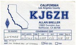 QSL CARD RADIOAFICIONADOS/RADIO HAM KJ6ZH CALIFORNIA USA YEAR 1992 - LILHU - Radio-amateur