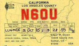 QSL CARD RADIOAFICIONADOS/RADIO HAM N6OU CALIFORNIA USA YEAR 1985 - LILHU - Radio-amateur