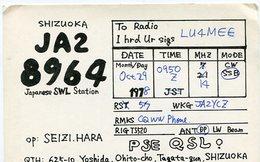 QSL CARD RADIOAFICIONADOS/RADIO HAM JA28964 SHIZUOKA JAPAN YEAR 1978 - LILHU - Radio-amateur