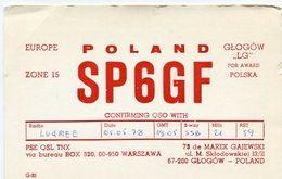 QSL CARD RADIOAFICIONADOS/RADIO HAM SP6GF GLOGOW POLAND YEAR 1978 - LILHU - Radio-amateur