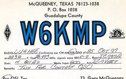 QSL CARD RADIOAFICIONADOS/RADIO HAM W6KMP TEXAS USA YEAR 1997 - LILHU - Radio-amateur