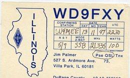 QSL CARD RADIOAFICIONADOS/RADIO HAM WD9FXY ILLINOIS USA YEAR 1997 - LILHU - Radio-amateur
