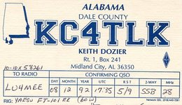 QSL CARD RADIOAFICIONADOS/RADIO HAM KC4TLK ALABAMA USA YEAR 1992 - LILHU - Radio-amateur