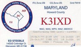 QSL CARD RADIOAFICIONADOS/RADIO HAM K3IXD MARYLAND USA YEAR 1997 - LILHU - Radio-amateur