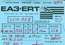 QSL CARD RADIOAFICIONADOS/RADIO HAM EA3-ERT BARCELONA ESPAÑA YEAR 1986 - LILHU - Radio-amateur