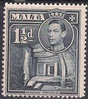 Malta 1938 - 43 KGV1 1 1/2d Slate Black Umm SG 220b ( G1233 ) - Malte (...-1964)