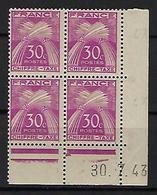 "FR Coins Datés Taxe YT 68 "" Chiffre Taxe 30c. Rose "" Neuf** Du 30.7.43 - ....-1929"