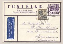 Nederlands Indië - 1937 - 7,5 Cent Op Karbouwen, Postblad 3c Met 30 Cent Wilhelmina Van LB BLITAR/1 Naar Haarlem / NL - Niederländisch-Indien