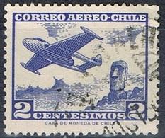 1962-CILE / CHILE - POSTA AEREA / AIRMAIL - JET E STATUE DELL'ISOLA DI PASQUA / JET AND EASTER ISLAND STATUE. USATO/USED - Cile