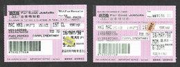 Macau Hong Kong Jetfoil Bateau 2 Billet 1998 Macao Jetfoil Boat Ticket - Billets D'embarquement De Bateau