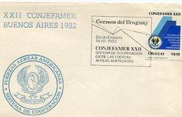 MATASELLOS CONJEFAMER XXII SISTEMA DE COOPERACION ENTRE LAS FUERZAS AEREAS AMERICANAS 1982 URUGUAY SOBRE FDC - LILHU - Uruguay