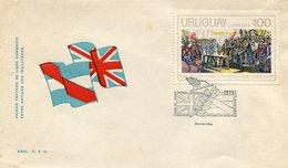 MATASELLOS TRATADO COMERCIAL INGLATERRA 1975 GRAL ARTIGAS PURIFICACION 1817 CORREOS DEL URUGUAY SOBRE FDC - LILHU - Uruguay