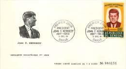 SENEGAL  1964  J F Kennedy  Poste Aérienne   FDC Non Adressé - Senegal (1960-...)