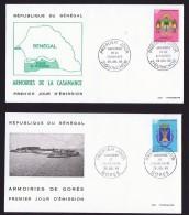 SENEGAL  1969    Armoiries: Casamance, Ile De Gorée    2 FDC Non Adressés - Senegal (1960-...)