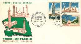 SENEGAL  1964   Monuments Religieux: Mosquées, église    FDC Non Adressé - Senegal (1960-...)