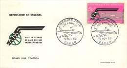 SENEGAL  1963  Mise En Service Du DC-9 D'Air Afrique   Poste Aérienne   FDC Non Adressé - Senegal (1960-...)