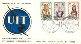 1965- Centenaire De L'UIT - Téléphone Ancien, Navire Cablier, Télégraphe- FDC - Senegal (1960-...)