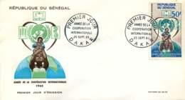 1965- Année De La Coopération Internationale - Poste Aérienne- FDC - Senegal (1960-...)